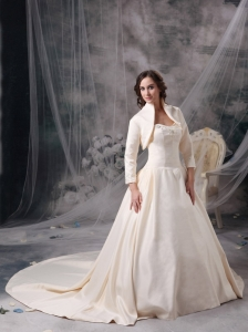 Champagne Satin Wedding Dress Sweetheart Chapel Train Jacket