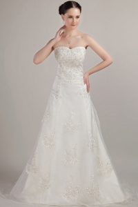 Strapless Court Train Tulle Wedding Dress Sweetheart Beading