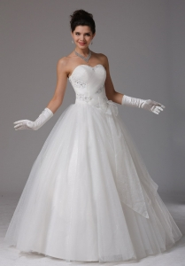 Ruch Bows Beading Wedding Dress Sweetheart Floor Length