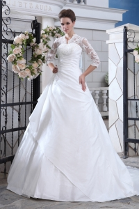 Lace Sleeves V Neck Layers Ball Gown Wedding Dress
