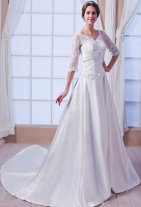 Appliques V-neck Wedding Dress Chapel Train Lace Sleeves