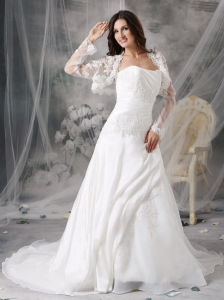 Court Train Organza Appliques Wedding Dress With Jacket