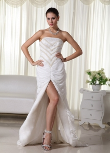 Strapless Beading Slit Brush Train Wedding Dress