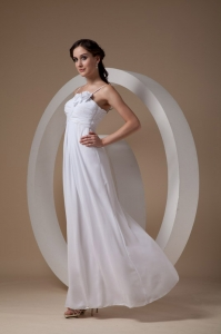 Straps Hand Made Flowers Ankle-length Wedding Dress