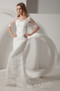 V-neck Wedding Dress Lace Sleeves Court Train Mermaid