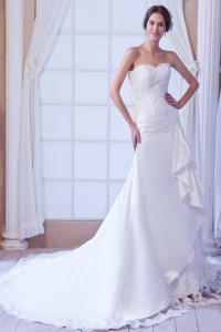 Strapless Satin Lace Wedding Dress Court Train