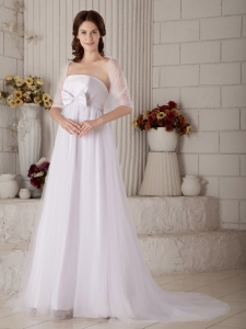 A-line Strapless Brush Train Tulle Bow Wedding Dress With Shawl