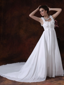 Chapel Train Chiffon 2013 Wedding Dress Flower Straps