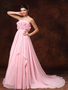 Handle Flower Strapless Pink Empire Chiffon Wedding Dress