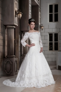 Off The Shoulder Court Train Lace Wedding Dress Long Sleeves