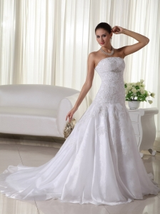 rganza Lace Wedding Dress Trumpet Strapless Lace
