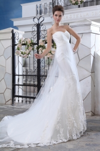 Lace Mermaid Sweetheart Court Train Wedding Dress