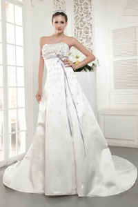 Strapless Court Train 2013 Wedding Dress Satin Beading