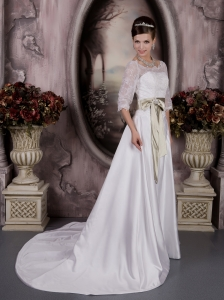 Bateau Court Train Satin Sash Wedding Dress 3/4 Sleeves