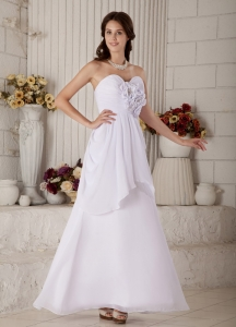 Sweetheart Ankle-length Chiffon Beading Wedding Dress Flower