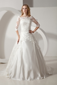 Scoop Lace Sleeves Chapel Train Wedding Dress