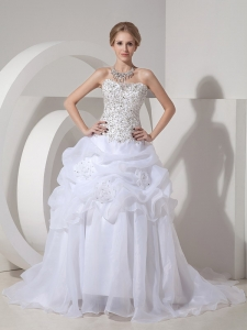 Pick-ups Beading Hand Made Flowers Wedding Dress Strapless
