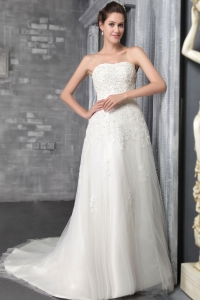 Strapless Court Train Tulle Lace Wedding Dress