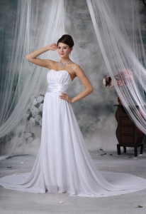 Ruching Court Train Strapless Chiffon For 2013 Wedding
