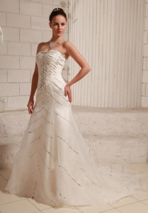 Sequins Sweetheart Court Train Wedding Dress