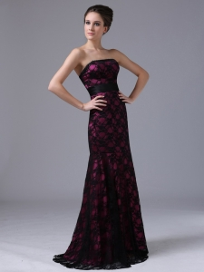 Sexy Purple Prom Dress With Black Lace Strapless
