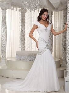 Mermaid V-neck Court Train Chiffon Wedding Dress Rhinestone