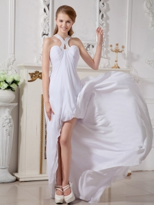 Simple Halter High-low Chiffon Beading Wedding Dress