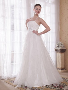 Halter Brush Train Organza Rhinestones Wedding Dress Ruffles