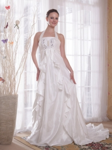 Halter Brush Ttrain Taffeta Wedding Dress Rhinestones