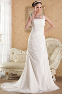 Straps Wedding Dress Court Train Organza Beading Chiffon