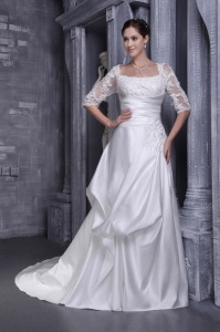 Square Neck Laces Sleeves Wedding Dress Chaple Train