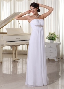 Chiffon Simple Wedding Dress Floor-length Empire Beading