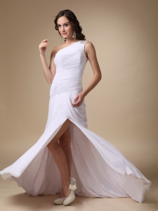 White Slit Column One ShoulderChiffon Ruch Prom Dress