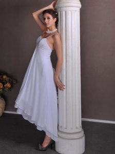 Beading Empire Spaghetti Straps High-low Chiffon Wedding Dress