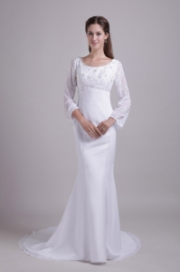 Mermaid Scoop Sleeves Wedding Dress Brush Train Embroidery