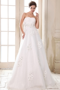 Affordable A-line Sweetheart Flowers Wedding Dress