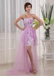 Appliques High-low Strapless Lavender Tulle Prom Dress