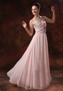 Baby Pink Beading Sweetheart Handle Flowers Prom Dress
