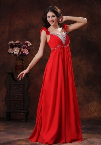 Beaded Empire Red Chiffon Prom Dress With Straps