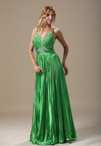 Green Spaghetti Straps Floor-length 2013 Prom Dress Ruching