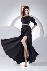 Beading High Slit Black Prom Dress One Shoulder 2013