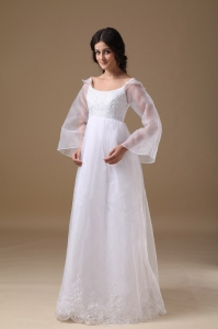 Beautiful A-line Organza Lace Wedding Dress Scoop Floor-length