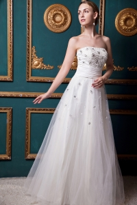 Wedding Dress Strapless Floor-length Beading A-line