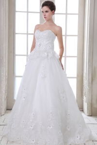 A-line Sweetheart Brush Train Tulle Wedding Dress Beading