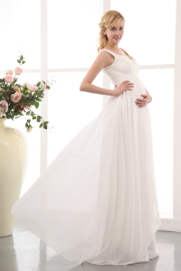 Beautiful 2013 Straps Maternity Wedding Gown Brush Train Beading