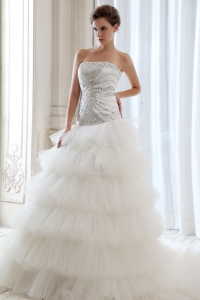 A-line Strapless Court Train Tulle Beading Wedding Dress