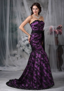Prom Dress Black Mermaid Strapless Court Train Purple Lace