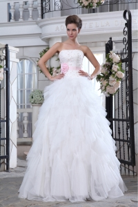 A-line Strapless Ruffles Tulle Beading Flower Wedding Dress