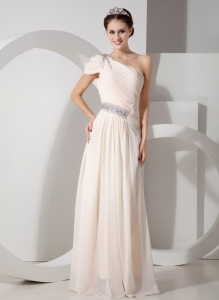 Champagne Chiffon Beading Prom Dress One Shoulder