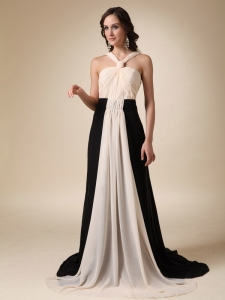 Champagne and Black Brush Train Chiffon Ruch Prom Dress